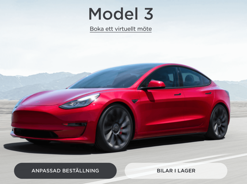 Beställ Tesla model 3 online